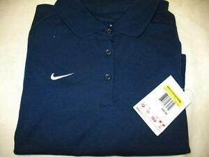 Nike 227023419 Fit Dry Short Sleeve 3 Button Polo Shirt Top Navy Womens Large