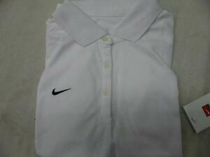 Nike 227023100 Fit Dry Short Sleeve 3 Button Polo Shirt Top White Womens Medium