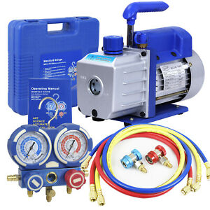 Combo 4 CFM 13HP Air Vacuum Pump HVAC + R134A Kit AC AC Manifold Gauge Set $103.69