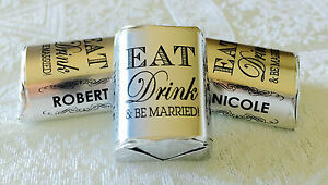 300 EAT Drink amp; BE MARRIED SILVER FOIL WEDDING CANDY WRAPPERS personalized FAVOR