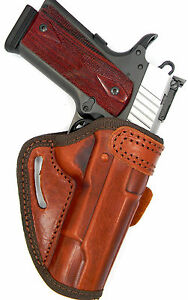 OWB BELT SLIDE OPEN TOP QUICK DRAW BROWN LEATHER HOLSTER for 1911 with 5