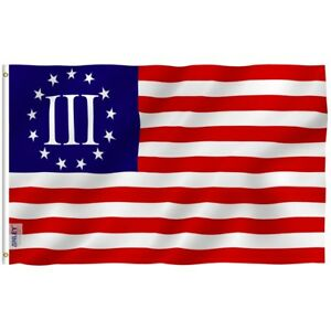Anley Fly Breeze 3x5 Foot Nyberg Three Percent Flag 3 Percenters Flags Polyester
