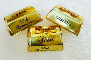 300 GOLD FOIL WEDDING ANNIVERSARY personalized WRAPPERS for your Hershey Nuggets