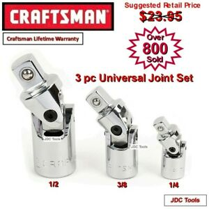 CRAFTSMAN TOOLS 3 PC PIECE UNIVERSAL SWIVEL JOINT SET 1 4 3 8 1 2 NEW