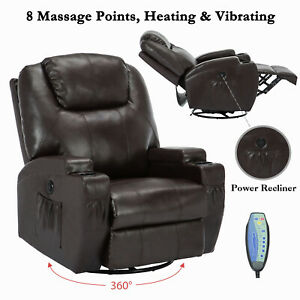 Electric Swivel Heated Massage Chair Leather Recliner Sofa Armchairs w/Control