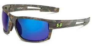 UNDER ARMOUR Captain Sunglass - Realtree  Gray w Blue Mirror Polarized + Case