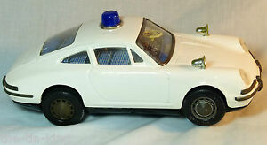 very large tin toy toys porsche 912 police battery