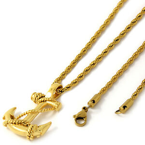 Men Gold Tone Stainless Steel Anchor Pendant 3mm 20