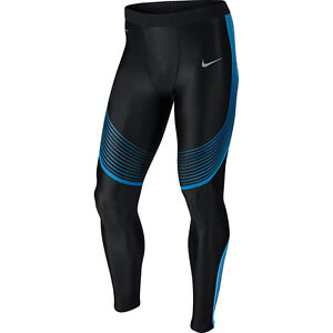 Nike Power Speed Tights men NEW 717750-018 black silver blue