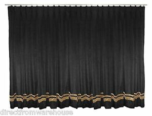 Saaria Velvet Pinch Pleated With Gold Stripe Curtain Thermal Blackout 16'Wx10'H