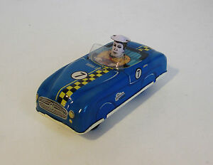 tinplate clockwork sports racing car in working