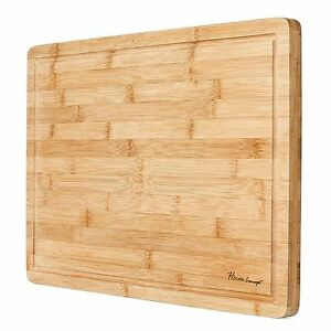 HEIM's XL Cutting Board Large Groove Kitchen ORGANIC Bamboo Wood Chopping Boards