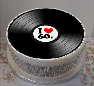 I Love 60's Vinyl Look 8 Icing Sheet Cake Topper, sixties