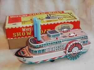 rare early version tin whistling steam show boat