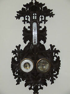 Antique 1800's German Weather Station Barometer with Hand Carved Birds