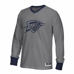 adidas Oklahoma City Thunder Gray Christmas Day Long Sleeve Shooter T-Shirt