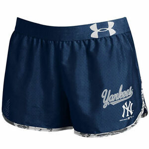 Under Armour New York Yankees Women's Tied Up Performance Navy Running Shorts