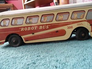 large tin wind up robot bus 300 woodhaven