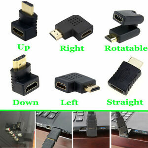 HDMI Male To HDMI Female Adapter Converter Extender 90 Degree Angle Coupler Plug
