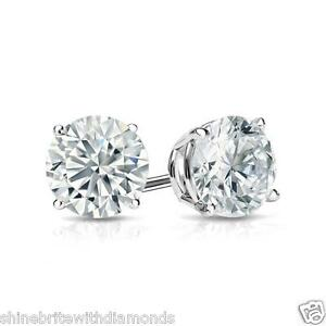 1 Ct Round Earrings Studs Solid 14K White Gold Brilliant Cut Screw Back Basket