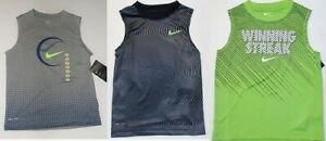 Nike Boys Dri Fit Green or Black Tank Tops Shirts Sizes 46 or 7 NWT