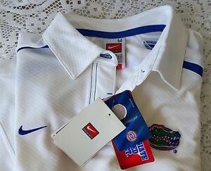 New University of Florida Gators Nike Womens Collar Fit Dry Shirt White MED