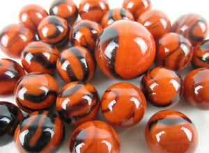 25 Glass Marbles BENGAL TIGER Orange Brown Stripe Shooter vtg style game Swirl