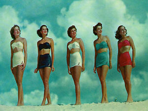 Bathing Beauties 24x36 GICLEE 12 color Art Print Poster Vintage Bathing Suits