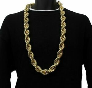 14k Yellow Gold Plated HEAVY RUN DMC 20MM Hip Hop Rope Chain Necklace