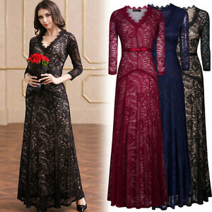 Women's Formal Long Cocktail Evening Party Wedding Bridesmaids Lace Maxi Dresses
