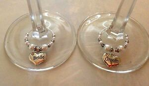bride and groom toasting champagne/wine glass charms, small hearts