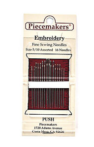 Piecemaker Embroidery Fine Sewing Needles Sizes 5 10 Assorted $7.16