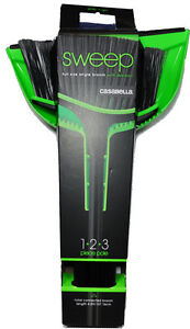 Casabella Sweep 1+2+3 Piece Pole Full Size Angle Broom with Dustpan Black/Green