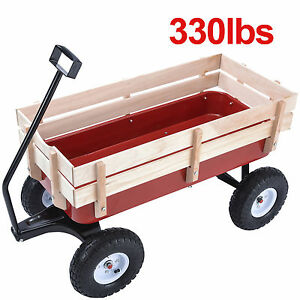 OUTDOOR WAGON PULLING CHILDREN KID GARDEN CART W/WOOD RAILING RED 330LBS