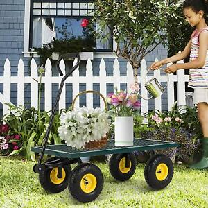 Lawn Yard Utility Garden Wagon Heavy Duty Nursery Cart Wheelbarrow Steel Trailer