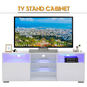 Large High Gloss White TV Unit Cabinet Stand wLED Lights Shelves Home Furniture
