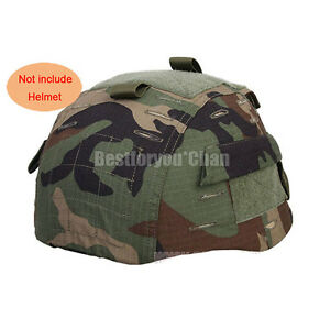 Airsoft Tactical Military Helmet Cover w Back Pouch for MICH 2002 Ver2 Woodland