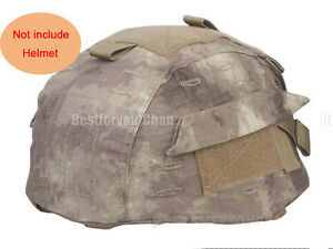 Airsoft Tactical Military Helmet Cover w Back Pouch for MICH 2002 Ver2 A-Tacs