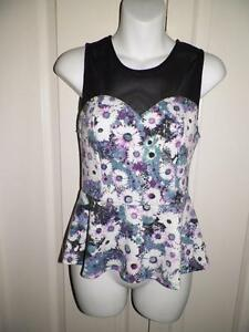ANTHROPOLOGIE PINS AND NEEDLES Floral MESH PANEL PEPLUM Tank Top Small