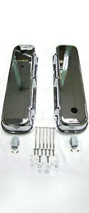 Big Block Chevy V8 Polished Aluminum Smooth Tall Valve Covers BBC 454 396 427