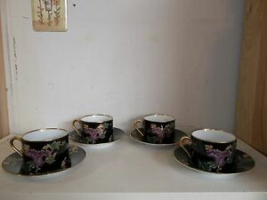 FITZ & FLOYD Cloisonne Peony Black Set of 7 Flat Tea Cups & Saucers Set 1984-96