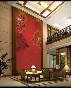 3D Red flower pattern Wall Paper Wall Print Decal Wall Deco Indoor wall Mural