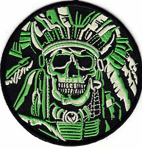 DEATH SKULL INDIAN CHIEF WARRIOR-IRON ON PATCH - ARMY-MORALE-NATIVE AMERICAN