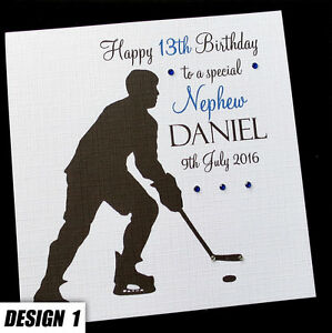 Personalised Icehockey Birthday Card Son Brother Grandson Nephew Dad 6