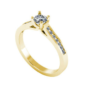 .50ct Solitaire Round Cut Ring with Accents Certified Diamond 18ct Gold 115