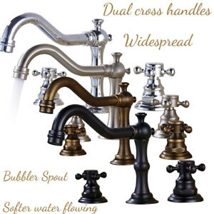 8-inch Widespread Deck Mount Bathroom Faucet Basin Mixer Tap Dual Cross Handles