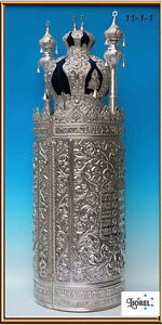Large Case for Sefer Torah Scroll Parchment Silver Plate Decalogue Jewish Temple