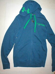 New NWT Mens Small Under Armour Fleece Jacket Blue Green Hoodie Cold Gear Logo