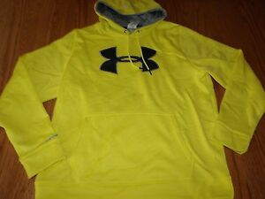 NWT MENS UNDER ARMOUR HOODIE SWEATSHIRT YELLOW LARGE X-LARGE STORM LOOSE
