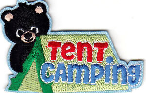 TENT CAMPING Iron On Patch Scouts Girl Boy Cub Camper Camp
